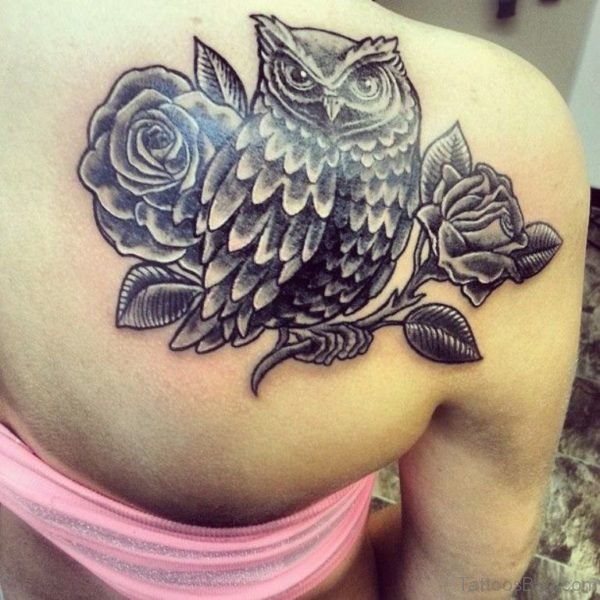 Beautiful Rose and Owl Tattoo