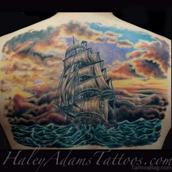 Beautiful Ship Tattoo Design