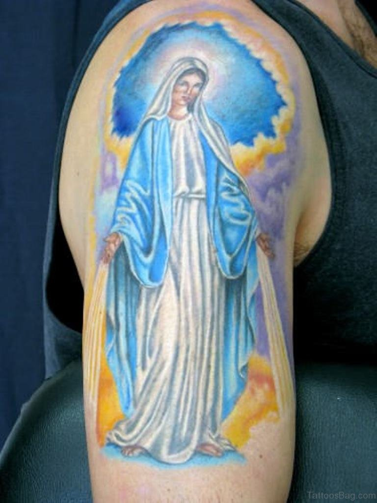 53 adorable virgin mary shoulder tattoos for Tattoo design in shoulder