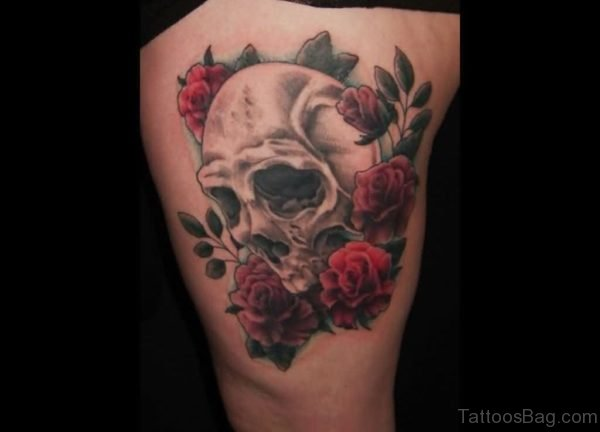 Beautiful Skull And Flower Tattoo  On Thigh