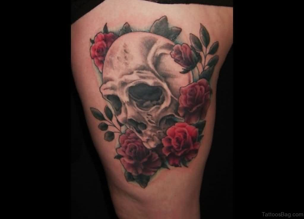 97 best skull tattoos on thigh for Skull leg tattoos