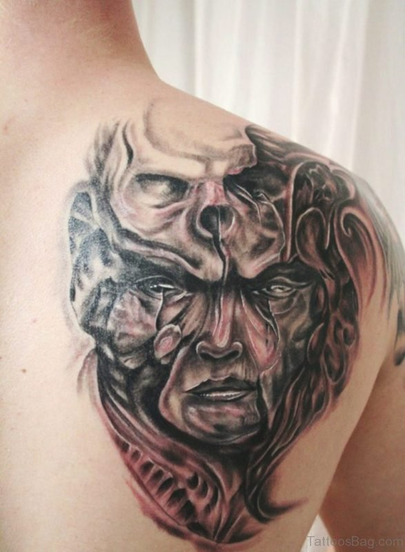 Beautiful Skull Tattoo On Back