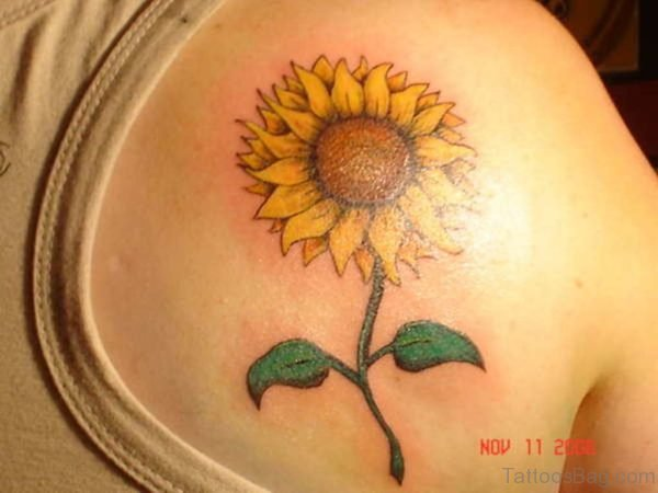 Beautiful Sunflower Tattoos On Upper Back