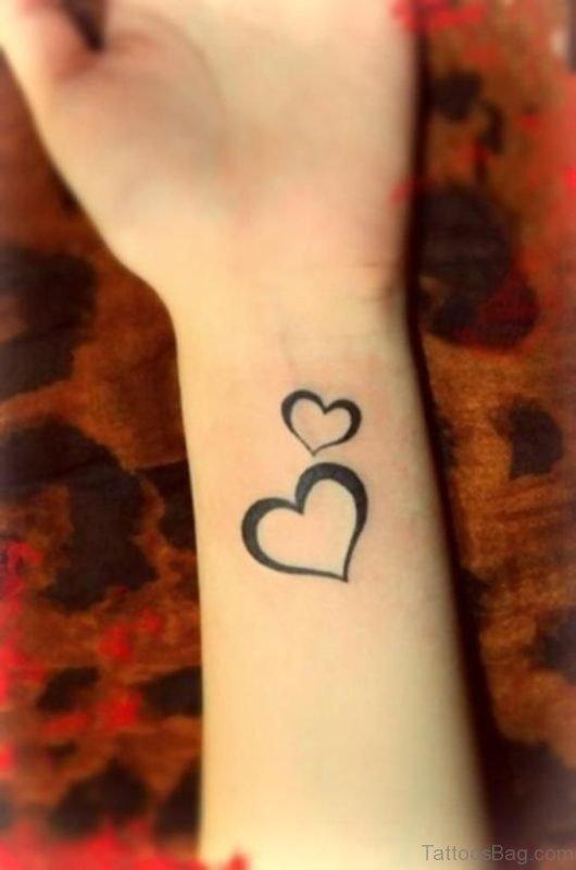 Beautiful Two Hearts On Wrist