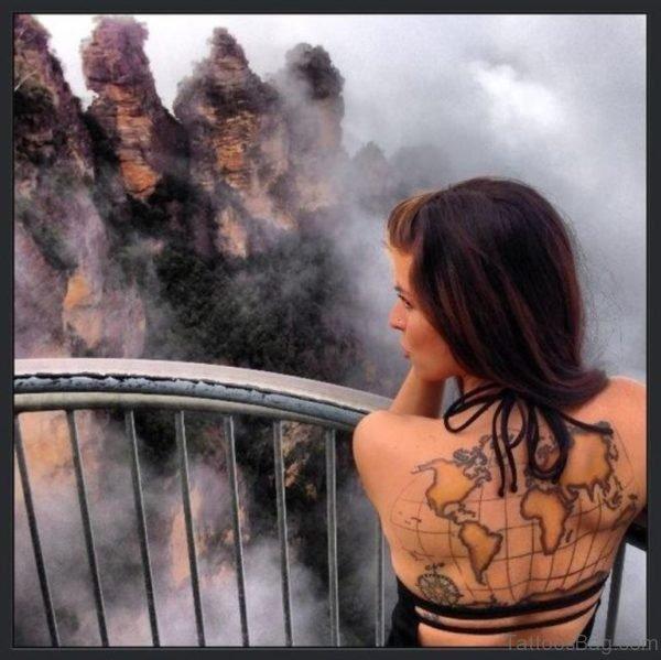 Beautiful World Map Tattoo Design