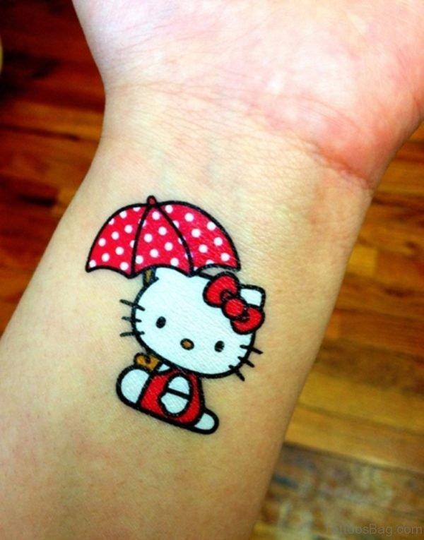 Beautiful kitty Wrist Tattoo