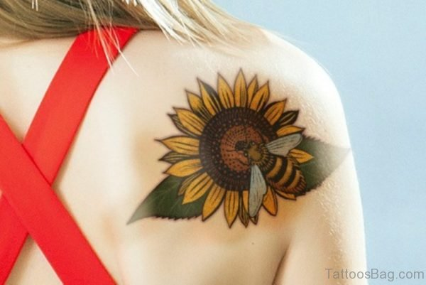 Bee With Sunflower Tattoo On Girl Right Back