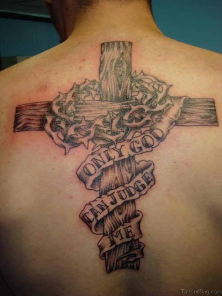 80 stylish cross tattoos on back