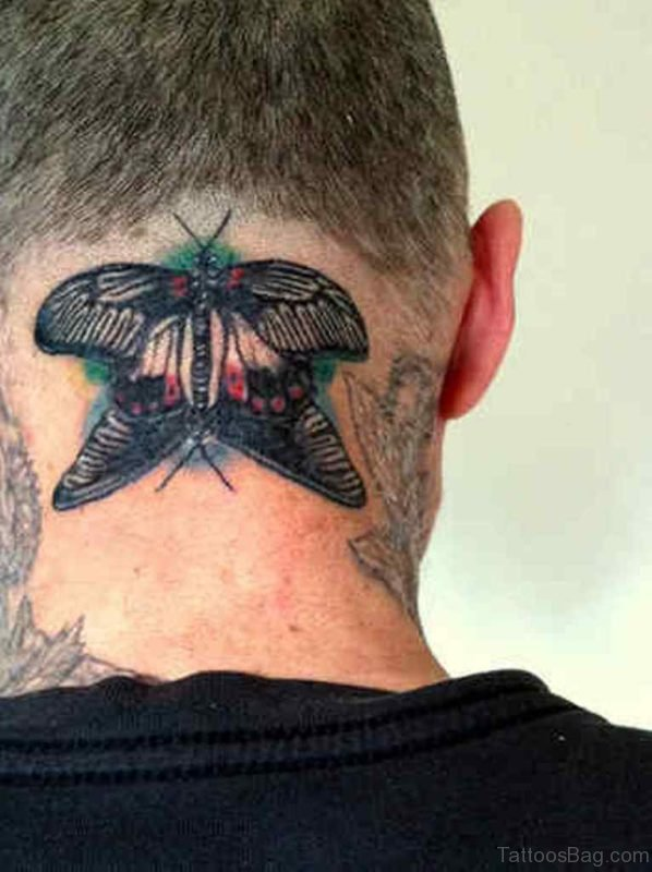 Big Butterfly Tattoo On neck