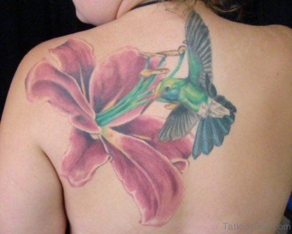 Big Flower And Hummingbird Tattoo