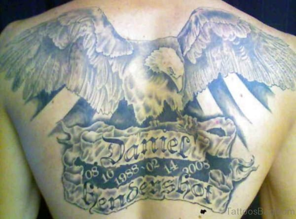 Big Grey Ink Eagle With Banner Tattoo On Back