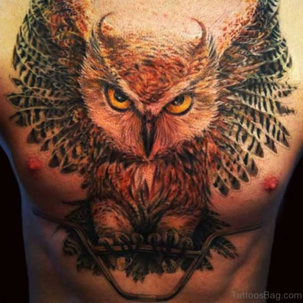 Big Owl Tattoo On Chest