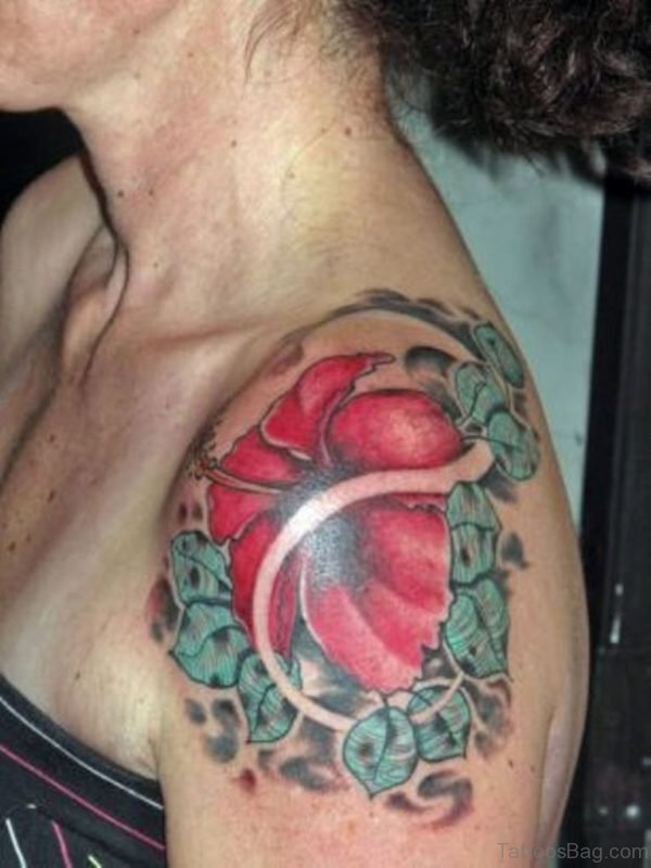 Big Red Color Hibiscus Flower Tattoo