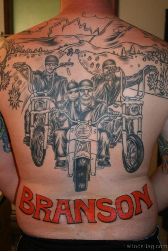 Bike Rider And Name Tattoo