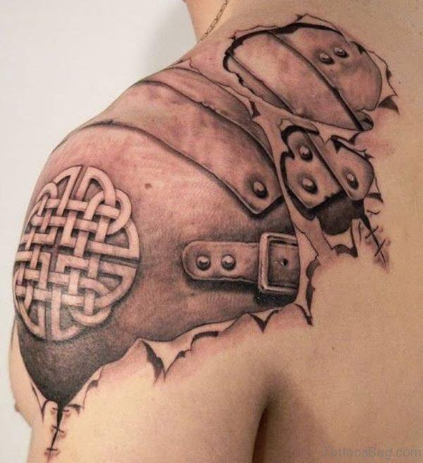 Bio Mechanical Tattoo On Back Shoulder