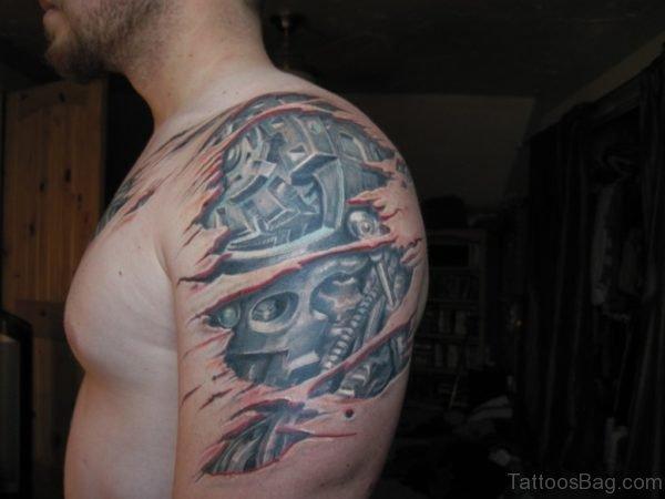Bio Mechanical Tattoo On Bicep