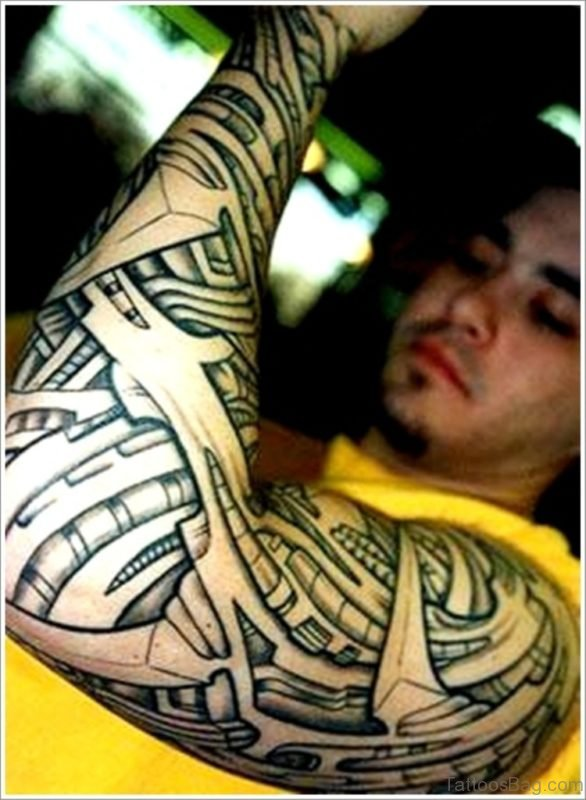 Bio Mechanical Tattoo On Full Sleeve