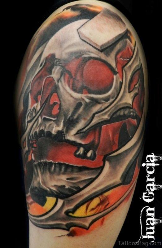 Bio Mechanical Tattoo Skull  Design