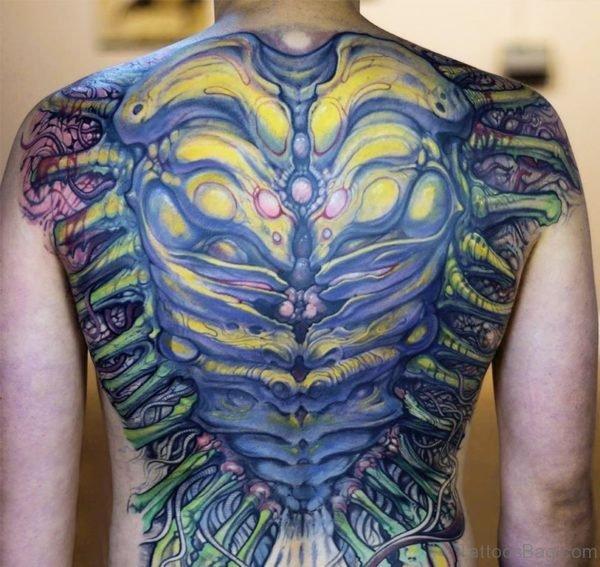Biomechanical Tattoo On Full Back