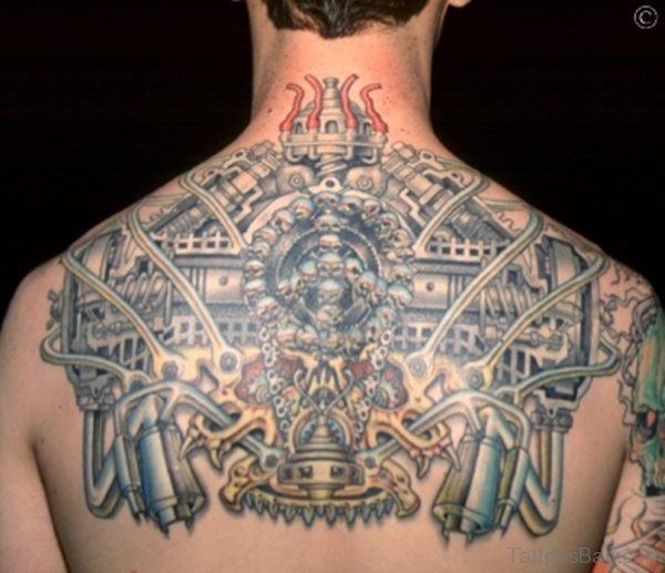 Biomechanical Tattoo On Man Back