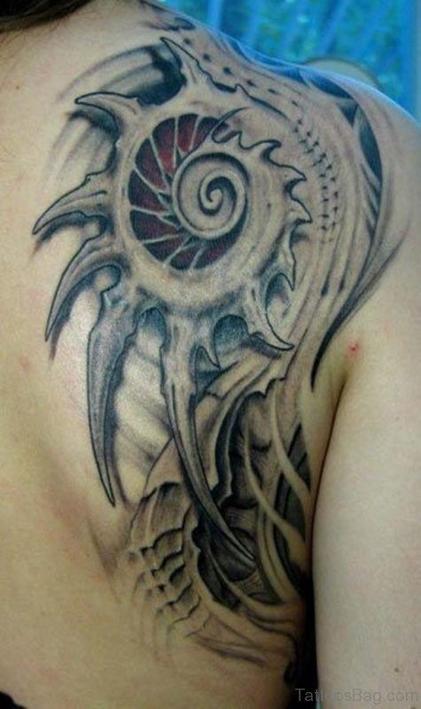 Biomechanical Tattoo On Upper Back