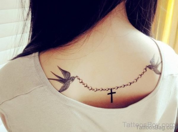 Bird And Cross Tattoo Design On Back