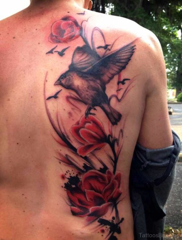 Bird And Flowers  Tattoo On Back
