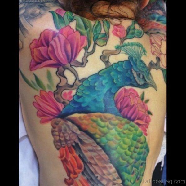 Bird And Pink Flower Tattoo