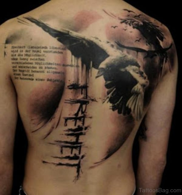 Bird And Wording Tattoo On Back
