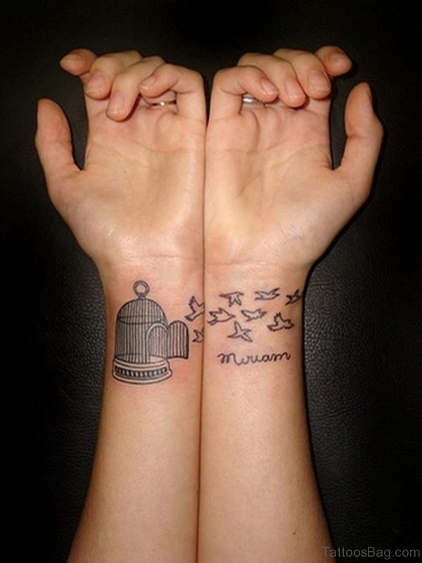 Bird Cage And Birds Tattoo