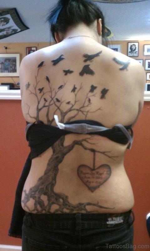 Bird Tattoo And Tree Tattoo