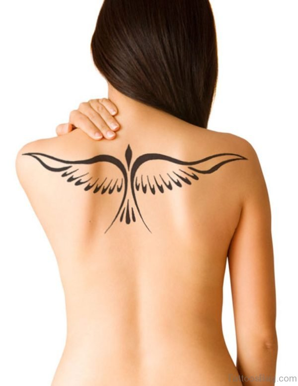 Bird Wings Tattoo On Girls Back