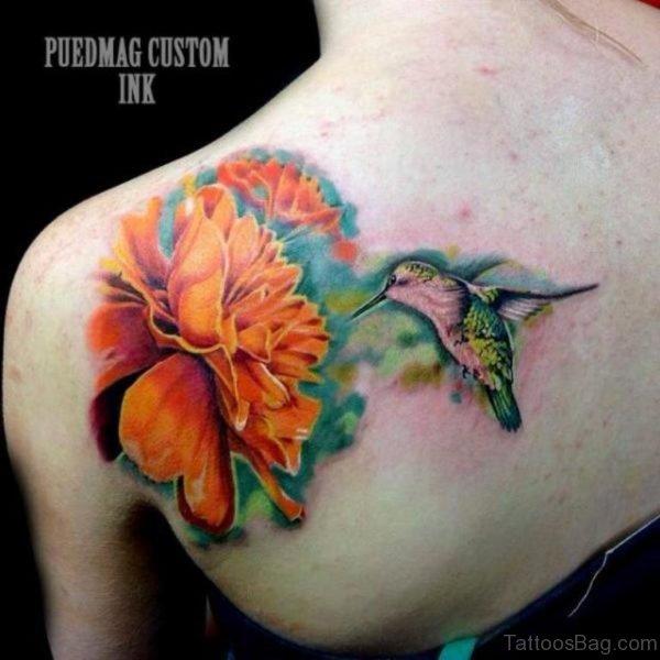 Bird With Flower Tattoo
