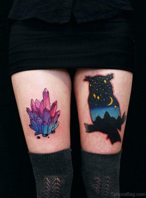 Bird and Crystal Tattoo