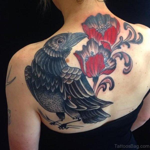 Bird with Poppy Tattoo Design