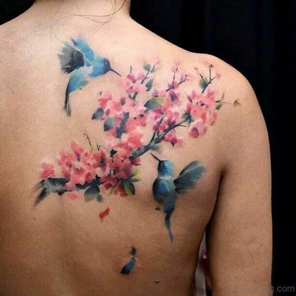 Birds & Cherry Blossom Tattoo