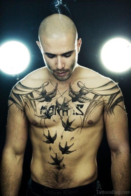 Birds Tattoo On Chest