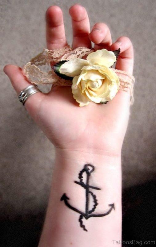 Black Anchor Rope Tattoo On Wrist