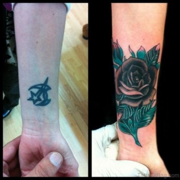 Black And Blue Rose Tattoo