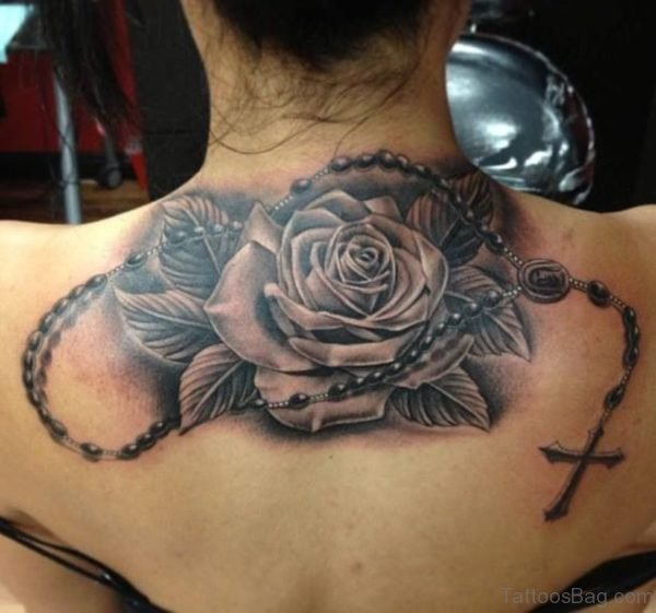 Black And Grey 3D Rosary Tattoo