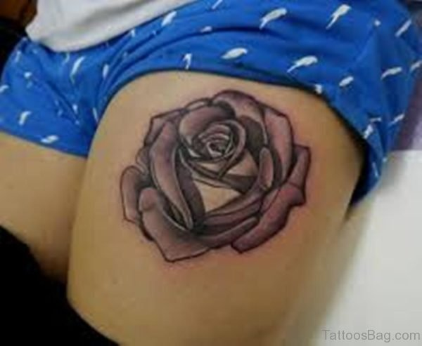 Black And Grey 3D Rose Tattoo