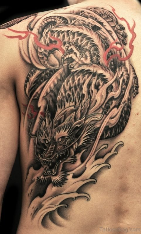 Black And Grey Back Tattoo