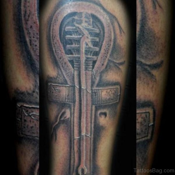 Black And Grey Bio Mechanical Tattoo Design