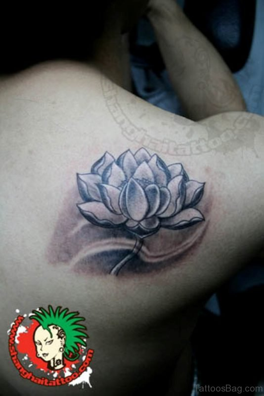 Black And Grey Flower Tattoo