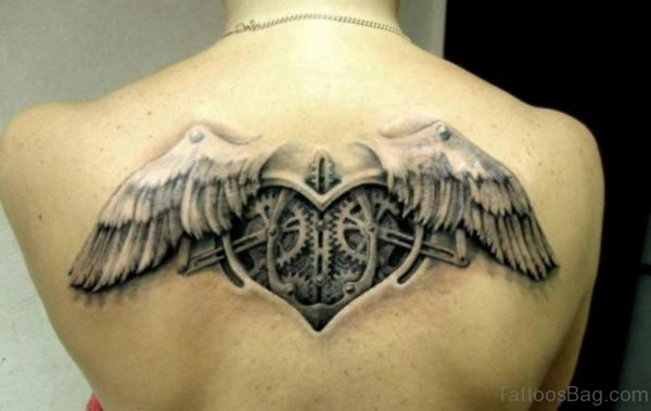 Black And Grey Mechanic Love Heart Tattoo