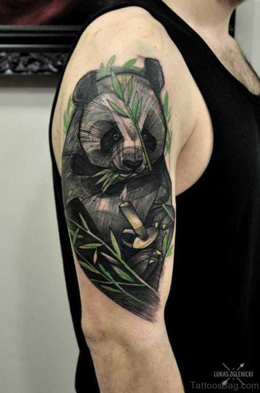 Black And Grey Panda Tattoo On Shoulder