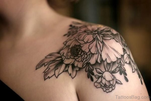 Black And Grey Peony Flowers Tattoo