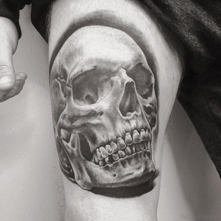 97 best skull tattoos on thigh. Black Bedroom Furniture Sets. Home Design Ideas