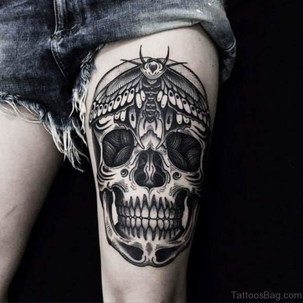 Black And Grey Skull Tattoo