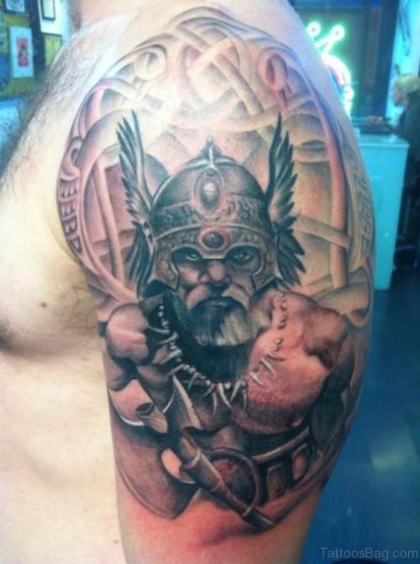 Black And Grey Viking Shoulder Tattoo Design